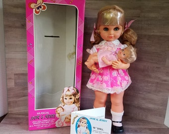 """Jane & Jenny 19"""" Musical Doll Complete with Separate 6 1/2"""" Baby Doll from the 70's Vintage New"""