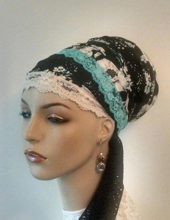 Lovely lacy floral Sinar tichel, tichels, head scarves, chemo scarves, head wraps