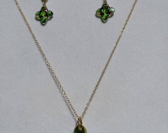 Swarovski Peridot and Gold Filled Cross Earrings and a Necklace set