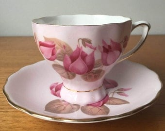 Colclough Teacup and Saucer, Light Pink Tea Cup and Saucer with Dark Pink Flowers, Vintage Bone China,