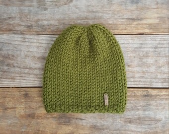 Slouchy Beanie, Knit Hat, Toque, Vancouver Beanie - in Pine