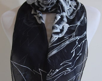 """Peonies in the Silver night Floral scarf, 11"""" X 66""""  hand painted Silk Scarf, wonen's scarves, Chiffon Silk"""
