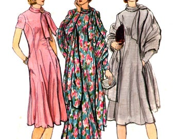 70s Vogue 9651 Princess Seamed Dress in Two Lengths with Tie Neck and Shawl, Uncut, Factory Folded Vintage Sewing Pattern Size 12 Bust 34