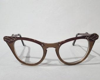 Rose Aluminum Cat Eye Eyeglasses, Vintage 50s 12k Rose Copper Engraved Aluminum Cateye Glasses Frames, Space Age Winged CatEye Glass Frames