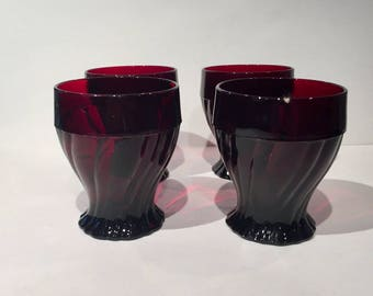 Anchor Hocking Ruby Swirl Tumblers, Set of 4 & Set of 7, 2 Sets Available, Vintage Ruby Red Glass Tumblers, Royal Ruby Red Drinking Glasses