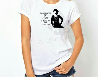 Women's Coco Chanel Silhouette Quote Shirt - Women's Chanel Inspired T-shirt
