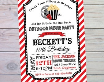 Movie Party Invitation | Movie Birthday Invitation | Movie Birthday Party | Movie Invitation | Outdoor Movie Party | The Party Darling