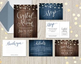 Rustic wedding invitations, complete kits suites sets, string lights hanging fairy lights, wood, ideas, announcements, customized DIGITAL