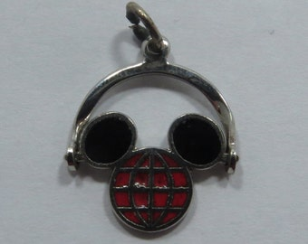 Walt Disney Productions Enameled Mechanical Spinner Mickey Mouse Silhouette Sterling Silver Charm for Bracelet or Pendant