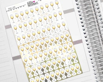 "70 Wine Stickers - ""A Glass of White Wine"" Stickers - Exclusive Wine Glasses Decorative Planner Stickers"