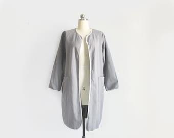 vintage grey duster jacket / 90s minimalist cotton canvas coat / womens M - L