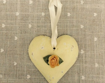 SALE! Shabby chic ,wooden heart, hanging decoration with flower detail