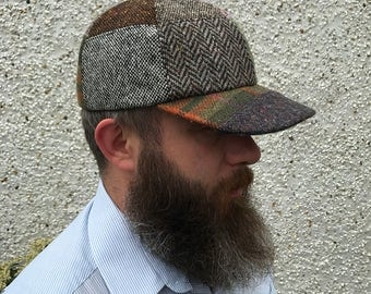 BASEBALL PATCHCAP - handcrafted patchwork - Irish tweed - 100% wool  - ready for shipping - Handmade in Ireland