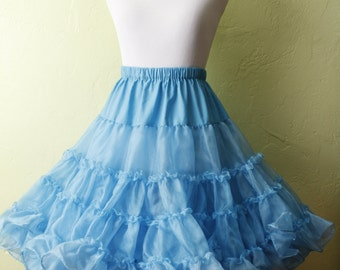 1950s/1960s Crinoline Petticoat- Iridescent Blue- Full Double Layered- Ruffled- Circle Skirt