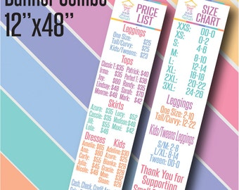 Printed LLR Banners 4' - LLR Price List and Size Chart Banners - Vinyl Banners - LLR Pop Up - Pop Up Boutique