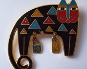 Price Reduced,Rare And Unique-Laurel Burch, Black Backgound, Blue,YellowGold, Mother Cat with Kittens, Rare, Etsy Jewelry, Cats, Heart Gift