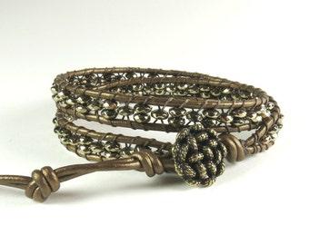 Golden two wrap bracelet