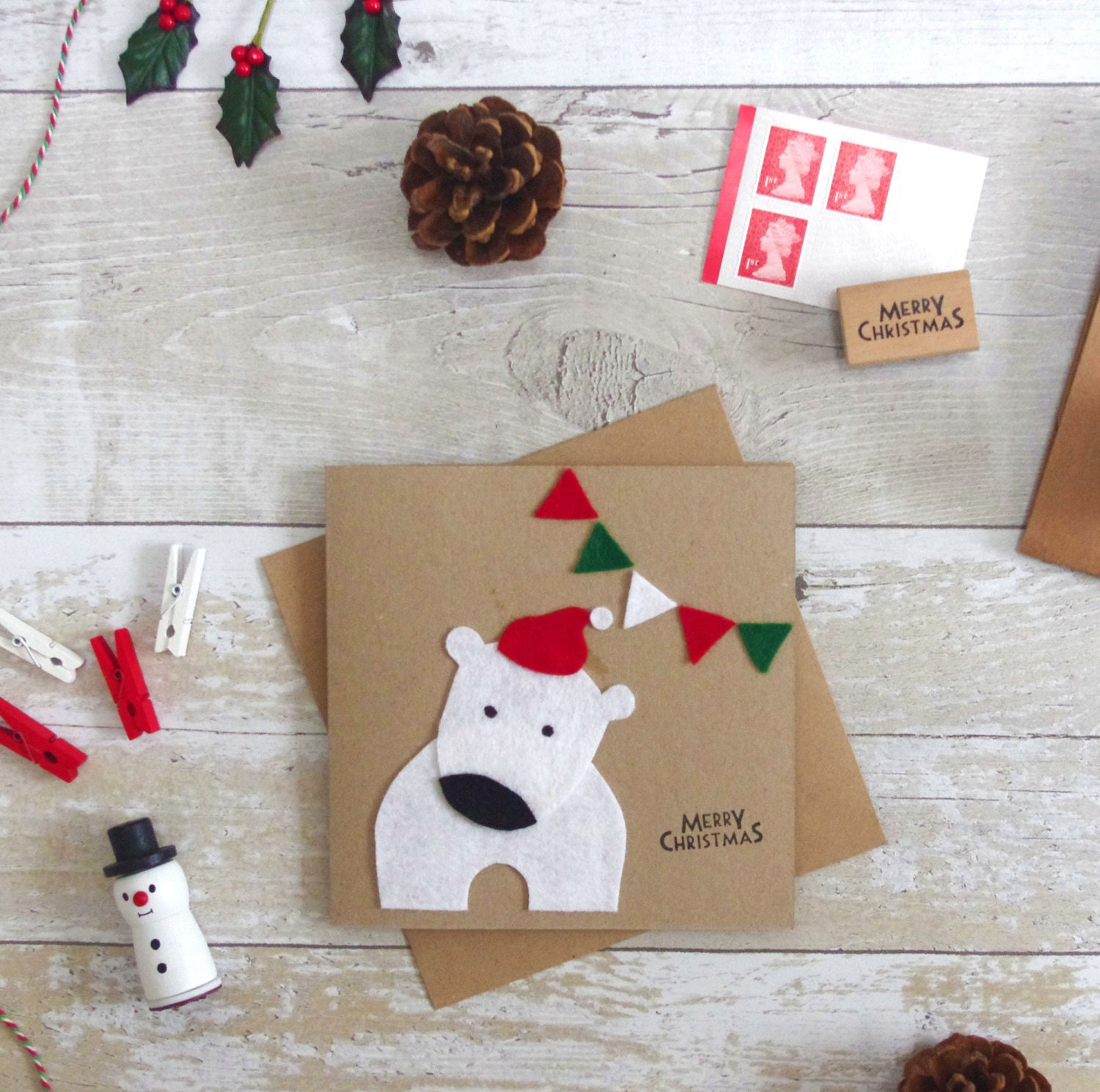 polar bear christmas card handmade kids felt xmas cards cute. Black Bedroom Furniture Sets. Home Design Ideas