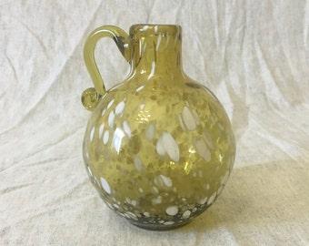 Vintage White Spatter Amber Glass Cruet , Hand Blown Art Glass Cruet