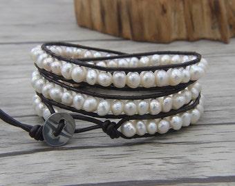 fresh water bracelet real pearl bracelet 3 rows wraps bracelet Boho beaded bracelet gypsy wrap bracelet jewelry Christmas gift SL-0481