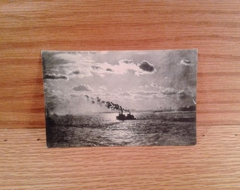"1907 Antique Postcard ""Moonlight on the Hudson River"" New Jersey City 1900s Vintage Card black & white photograph NYC ephemera FREE SHIPPING"