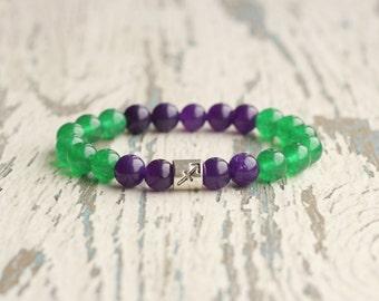 sagittarius bracelet zodiac bracelet jewelry zodiac sign beads gemstone beads sagittarius for women green purple birthday gift horoscope