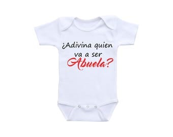 Pregnancy Reveal New Baby Announcement Onsie or Gerber Baby Onesie® Abuela Gift Spanish Onesie® Spanish Gifts New Grandma New Grandmother