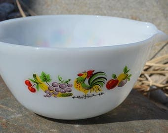 Fire King bowl, chanticleer mixing bowl, rooster, 60s kitchen, milk glass bowl, farmhouse decor, mixing bowl, collectible bowl