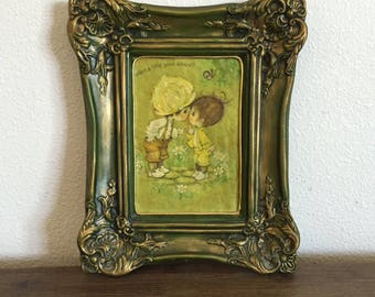 Precious Moments Decoupaged Ceramic Wall Hanging; Decoupage Wall Art; Decoupage; Vintage Art; Precious Moments