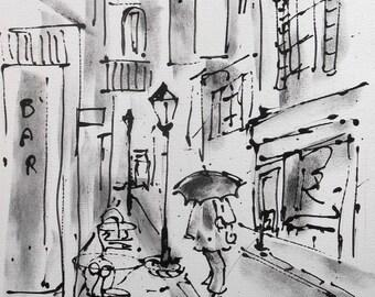 """Painting  """"The Umbrella under the rain"""""""