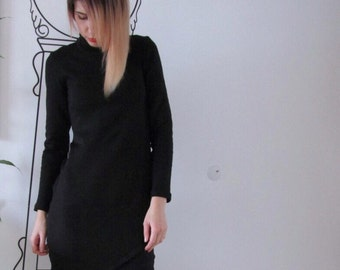 Little Black Dress / Long Sleeve Dress / Asymetrical Dress by Fabra Moda Studio / D132