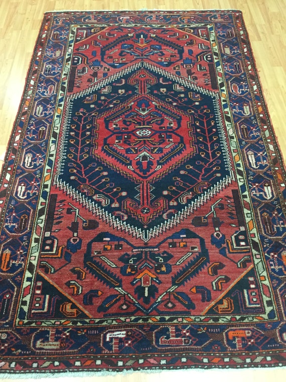 "4'3"" x 6'10"" Antique Persian Hamadan Oriental Rug - 1930s - Hand Made - 100% Wool - Vintage"