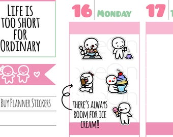 Munchkins - Ice Cream, Froyo, Sundaes, and Popsicle Lovers! Planner Stickers (M258)