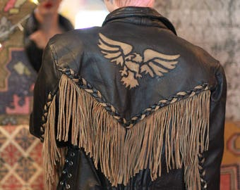 Vintage Fringe Leather Jacket with Southwestern Detailing