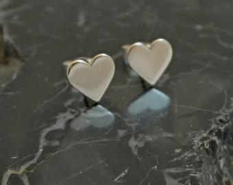 Heart Stud Earrings. Handmade Sterling Silver, Heart gift, Heart jewelry, Heart studs,Valentines gift for her, Gift for her, Heart earrings