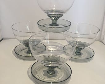 4 x Vintage Retro Kitsch 1950s 1960s 50s 60s smoked glass fruit dessert bowls