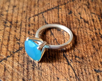 blue agate silver setting ring