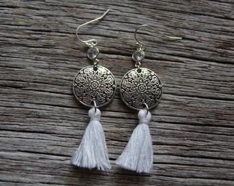 Bohemian Tassel Earrings / Mandala Earrings / White Tassel Earrings