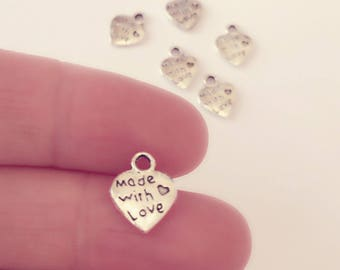 Made With Love Charms / Silver Heart Charm Set of 3 / 15 x 12 mm Silver Handmade Pendants / Silver Love Charm Set / CH20