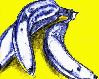 A3 Original Pop Art Poster, Banana Wall Hanging Decor, Food Drawing Sketch Print