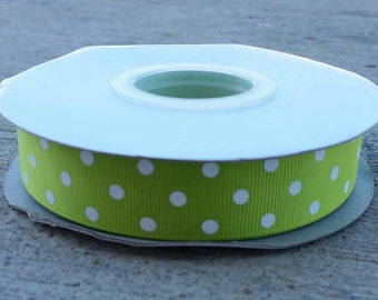 """7/8"""" Lime Green with White Polka Dots - Grosgrain Ribbon - 7/8 inch"""