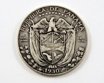 Panama 1930 Silver 1/2 Balboa Coin.Low Mintage-300000