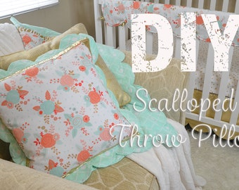 Scalloped Throw Pillow Pattern- PDF- With FREE Video Tutorial