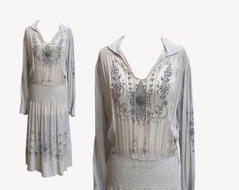 REDUCED 1920s Embroidered Peasant Dress