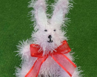Hand Knitted Easter Bunny Rabbit in Sparkly Pastel Pink Tinsel Wool - 16cm Tall