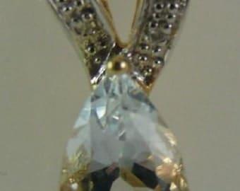 Aquamarine 1.05 ct Pendant with Diamonds 0.06ct 14k Yellow Gold