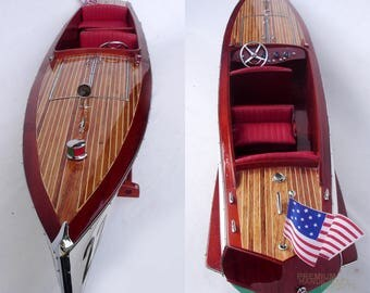 Charles D. Mower Number Boat # 22 - Handmade Wooden Classic Boat Model