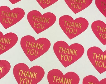 Hot Pink/Gold Foil Heart Thank You Stickers