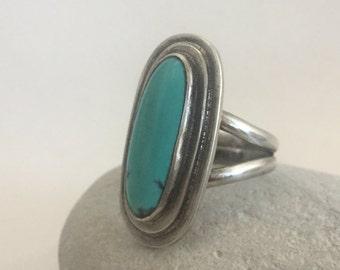 Turquoise Ring, Size 6, Sterling Silver, December Birthstone, Sagittarius, Boho, Hippie, Gypsy, Kingman, Oval