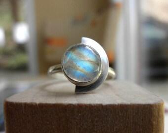 Deco Moonstone Ring, Egyptian Revival Moonstone Ring, Deco Egyptian Revival Ring, Moonstone Ring, Half Moon Ring, June Birthstone